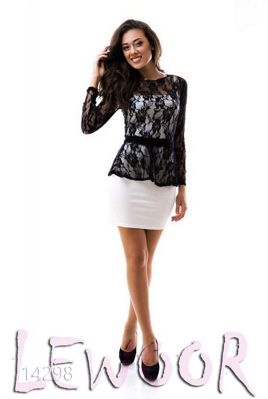 Платье двойка из трикотажа с гипюром и с баской - купить оптом и в розницу df91c6cadd4b2