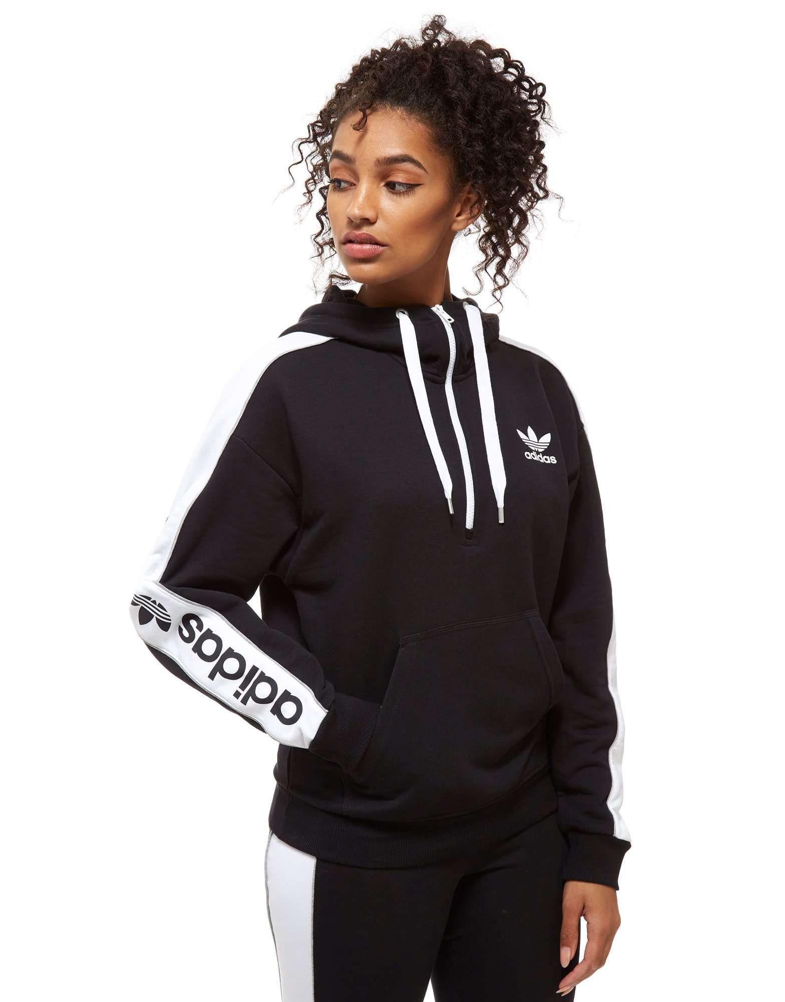 adidas Originals Linear 1/2 Zip Hoodie - Shop online for adidas Originals  Linear 1