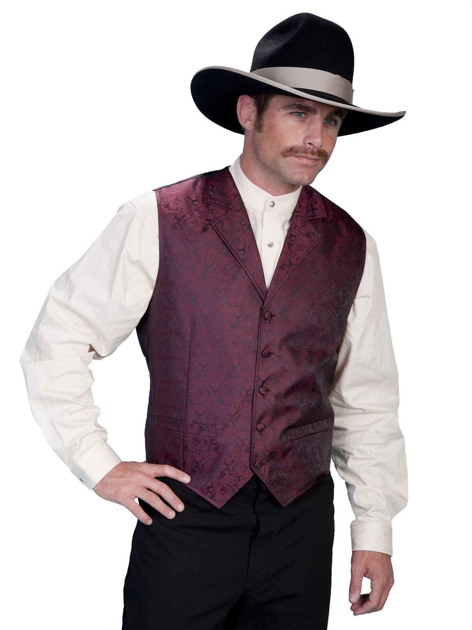 Mens western vest collection rangewear paisley notched lapels