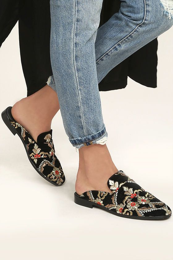 0b384653c9 Indulge in a little bit of luxury with the Free People Brocade At Ease Black  Embroidered Loafer Slides! These luxe velvet loafers have a rounded toe  upper, ...
