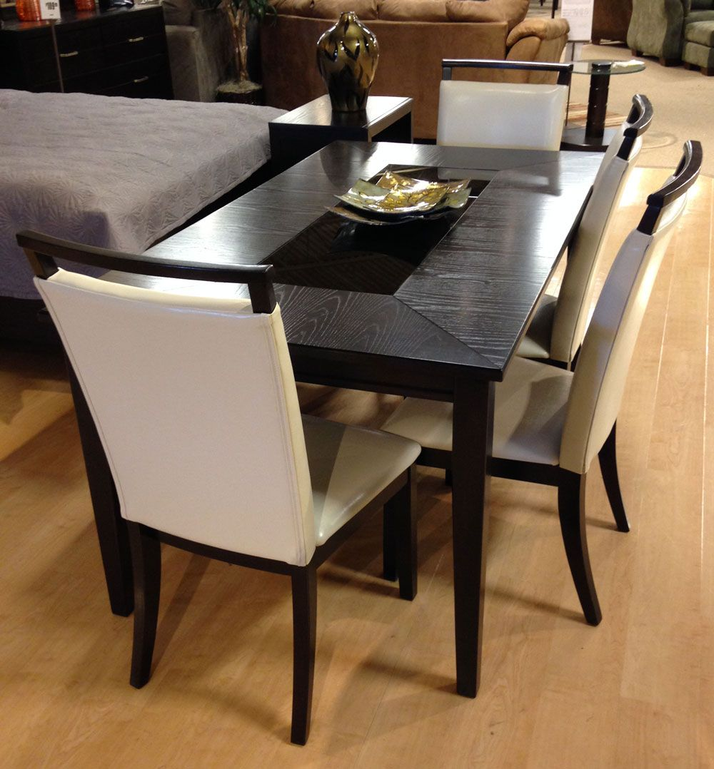 Trishelle 6 Pc Dining Room Table With A Sleek Straight Line Contemporary Design Bathed In