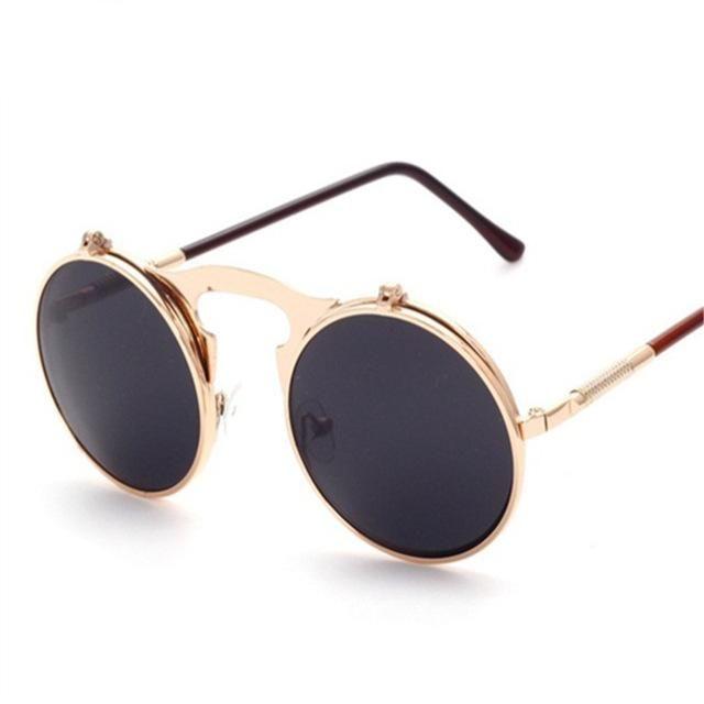 YOOSKE High Quality Steampunk Sunglasses Women Men Brand Round Clamshell Glasses Metal Frames Male Female Mirror Sun Glasses – Gold Gray