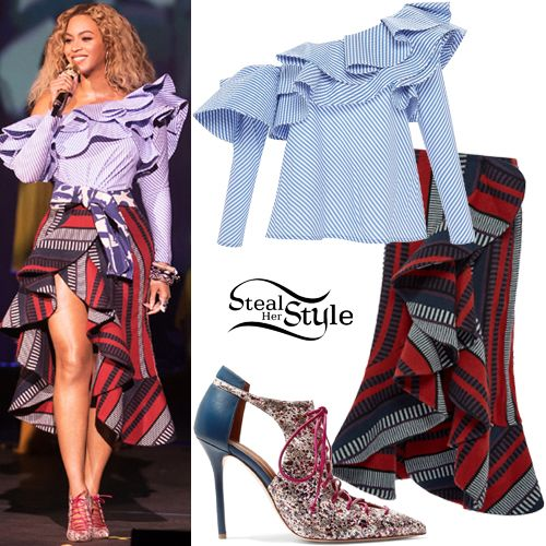 Beyoncé hosted a holiday party for her record company, Parkwood Entertainment wearing an Anastasia One Shoulder Top ($795.00) and an Alexia Skirt ($747.00) both by Johanna Ortiz, with Malone Soulless Montana Cutout Leather and Elapse Pumps ($920.00).
