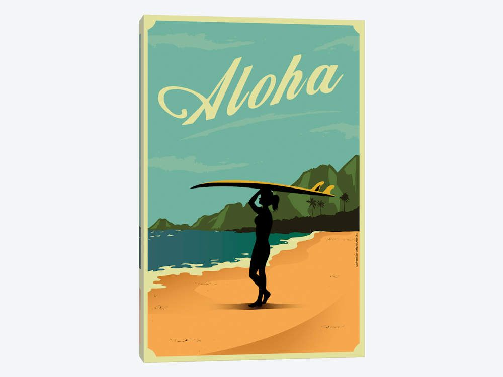 Aloha Canvas Art By American Flat Surf Art Vintage Surf Surfing