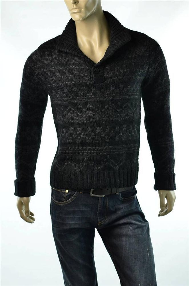 Calvin Klein Sweater Mens Black Cardigan Fairisle Jumper Sweaters ...