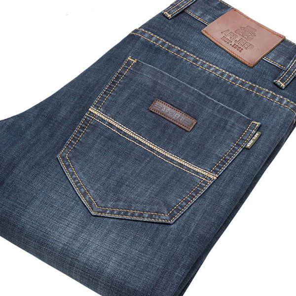 Men Summer Autumn Fall Plus Size Denim Fabric Mid-Rise Jeans Straight-leg Pants