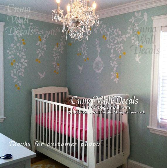 Nursery Wall Decal Baby Girl Wall Sticker Fower Birds Wall Decals Wedding  Office   Vine Flowers Part 86