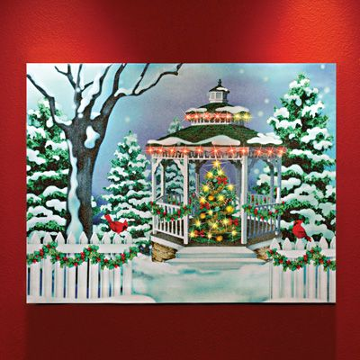 Lighted Winter Gazebo Christmas Canvas Indoor Christmas Decor