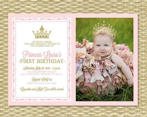 Pink And Gold Princess First Birthday Invitation Photo Card Royal