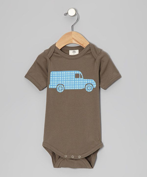 Take a look at this Kate Quinn Organics Charcoal Plaid Truck Organic Bodysuit - Infant on zulily today!