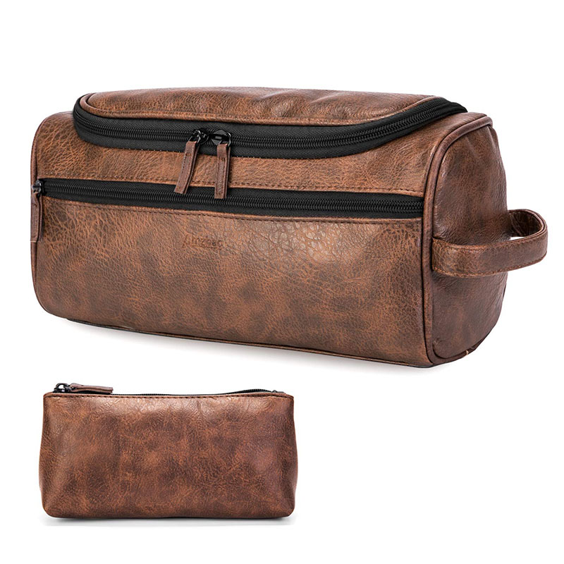 Dopp Kit Toiletry Travel Bag Leather Genuine for Men Buffalo P and Mens Womens