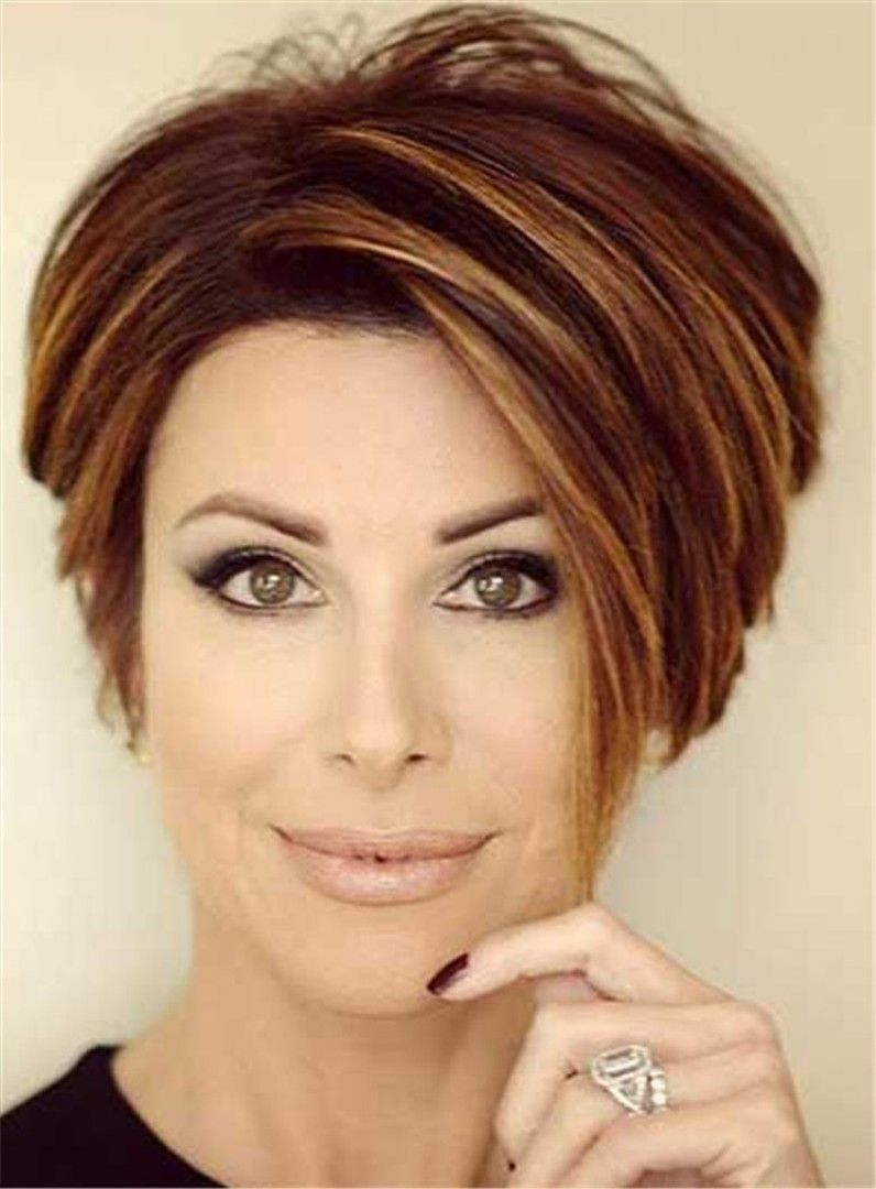 Short straight mixed color lob lace front human hair wigs for older