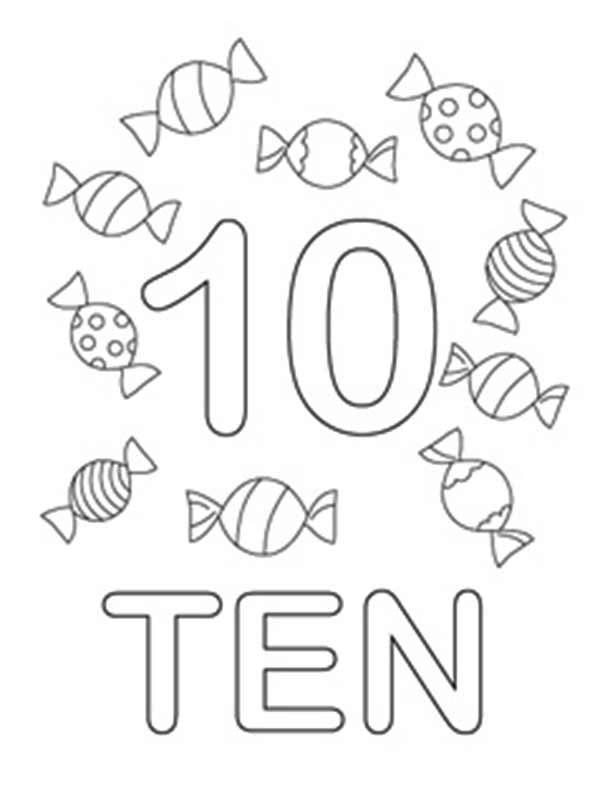 Learn Number 10 With Ten Candies Coloring Page Bulk Color Numbers Preschool Candy Coloring Pages Coloring Pages