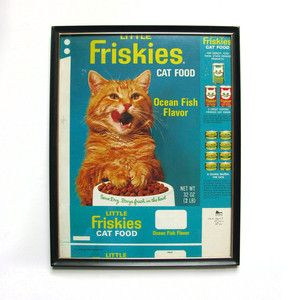 Fab.com | Eccentric Eclectic Vintage  ~ framed vintage catfood box worth a small fortune!