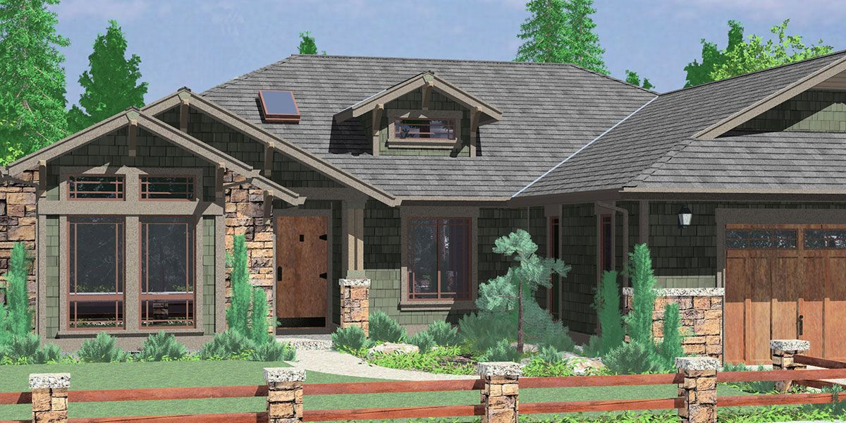 House front color elevation view for 10163 one story house for 3 bedroom ranch style floor plans