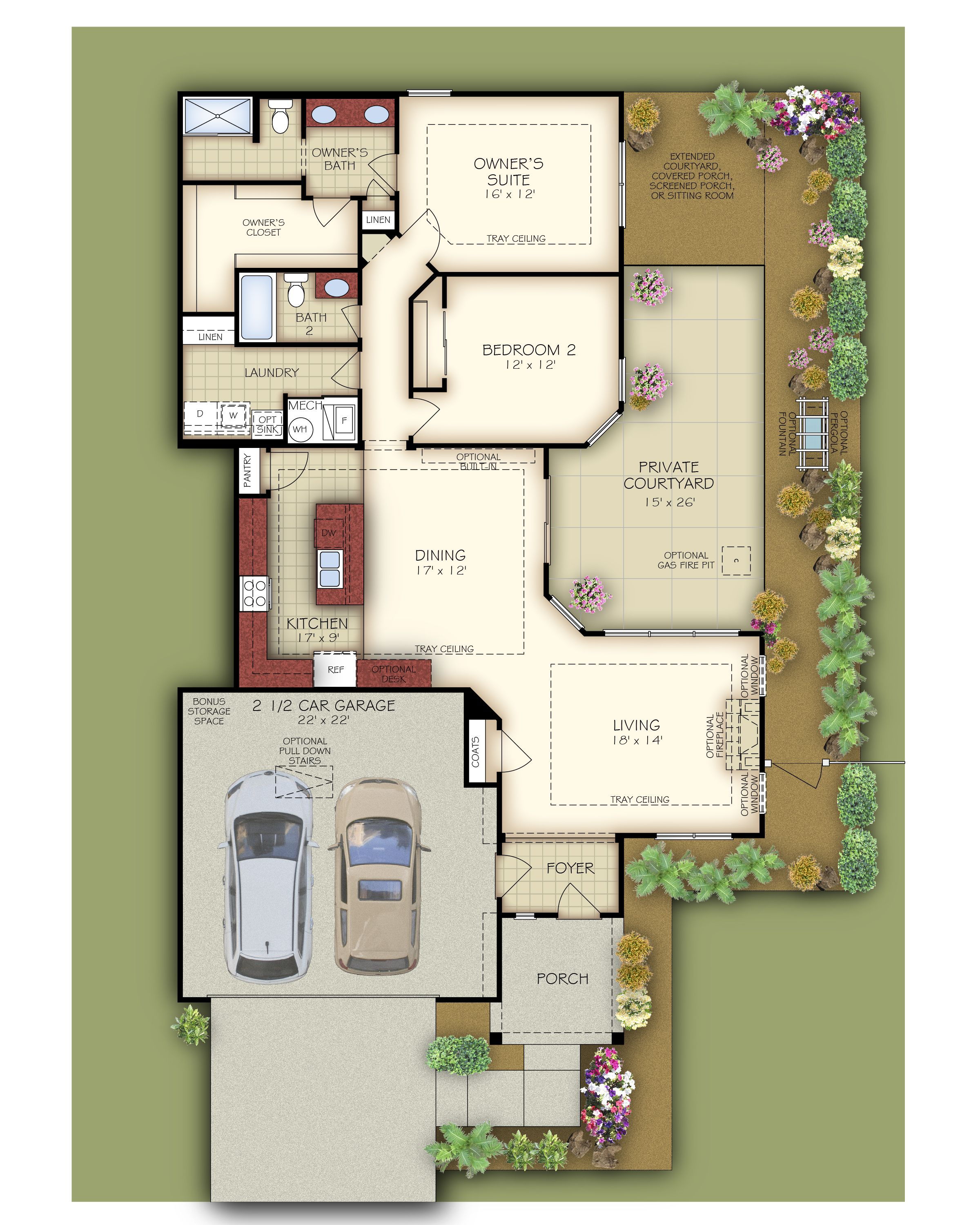 The Collonade Cornerstone Homes 2 Bedrooms Den Office And 2 Full Baths Dining Area Open To Living Room 9 Ft Ceil Garage Room Front Courtyard Cars Room