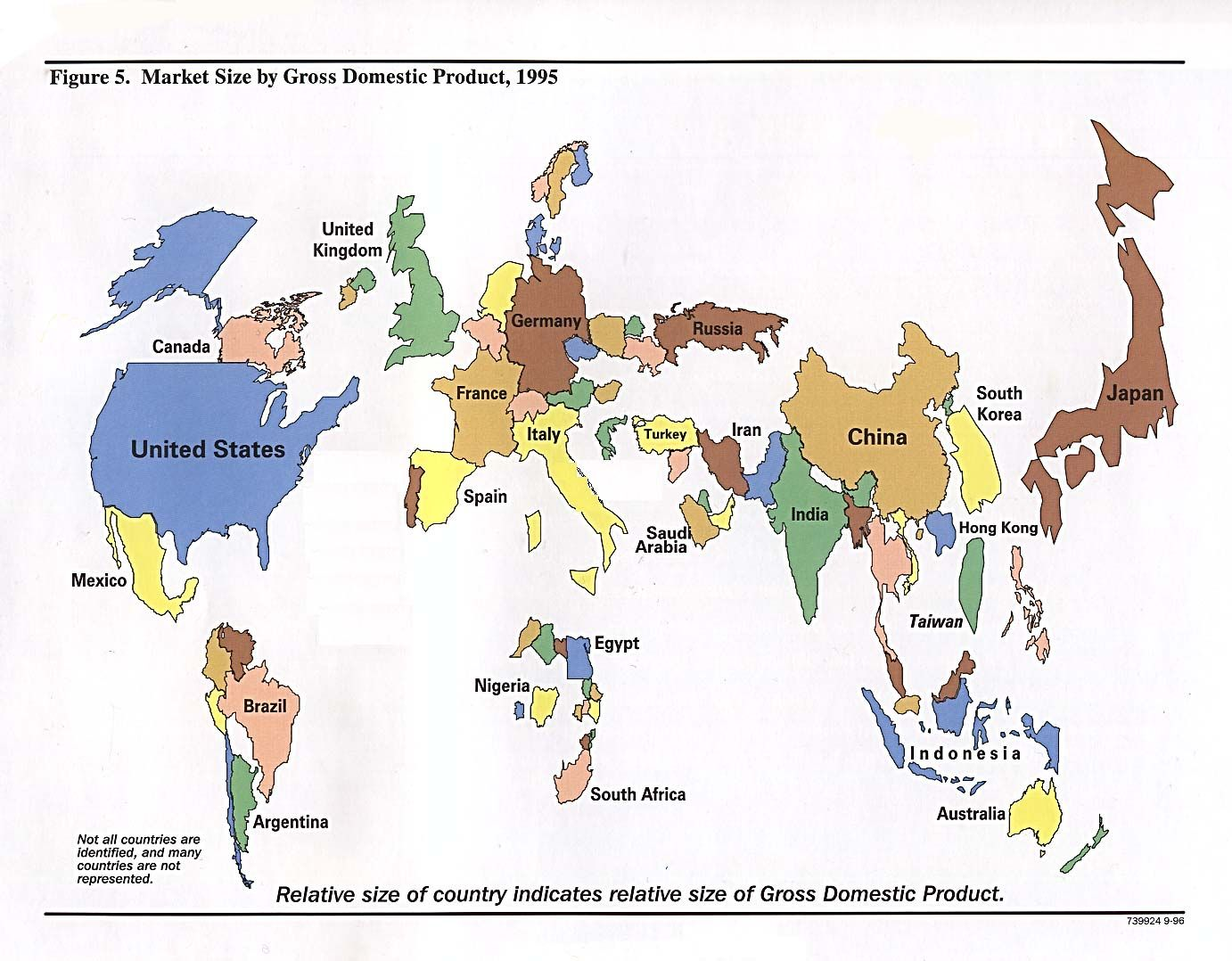 World market size by gross domestic product from handbook of world map resized by gdp 1995 gumiabroncs Image collections