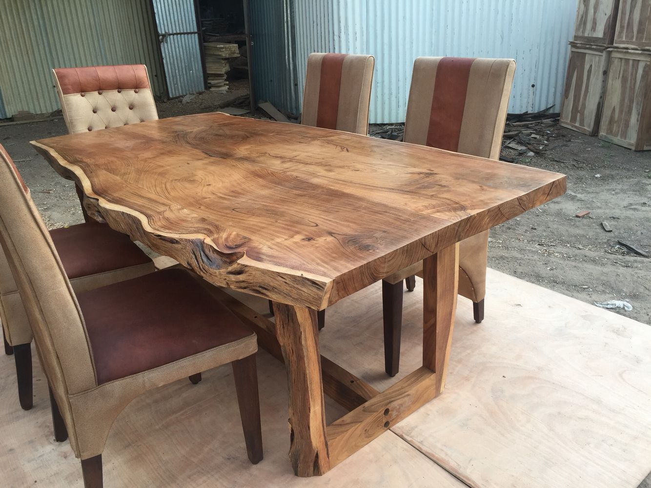 Sundara live edge table solid wood live edge dining tables pinterest tables woods and for Live edge slab dining room table