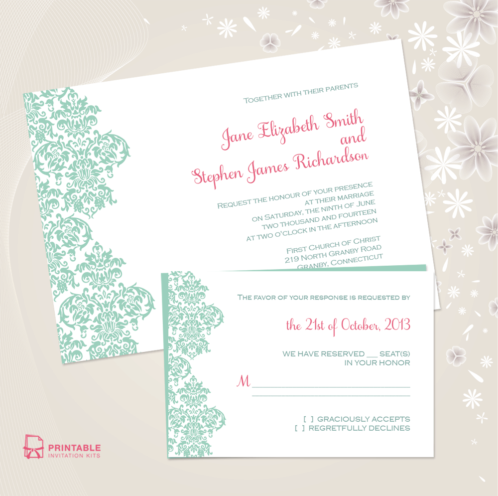 Print Wedding Invitations At Home: Free PDF Downloads. Damask Border Invitation And RSVP Set