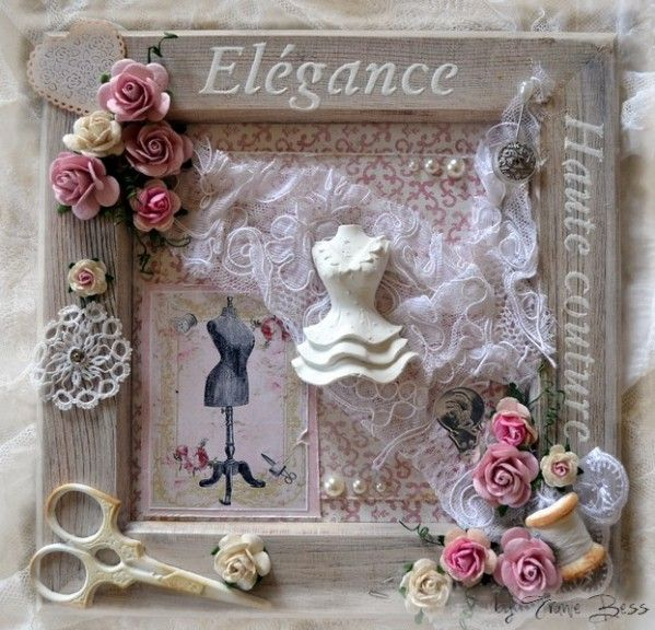 Cadre shabby byfraniebess scrap relooking et home deco for Encadrement shabby chic
