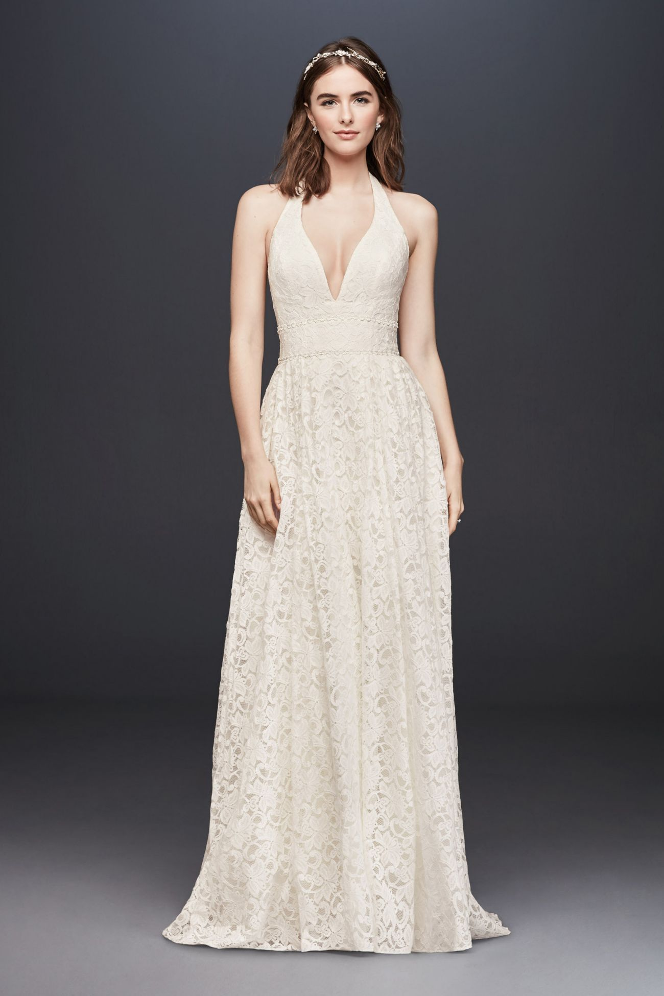 Plunging Lace Halter Ball Gown Wedding Dress Ball gowns