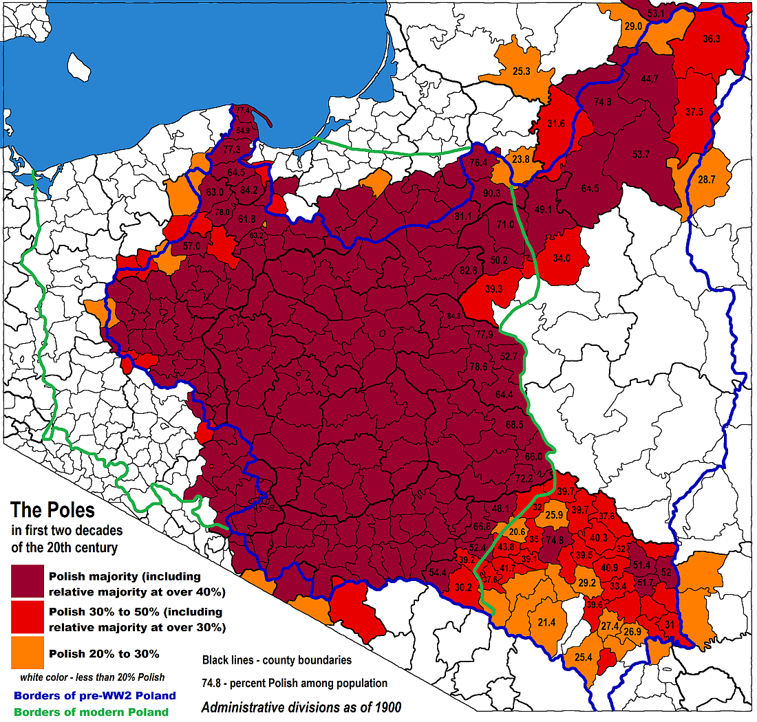 A Map Of Ethnic Poles In The Early 20th Century Maps Map