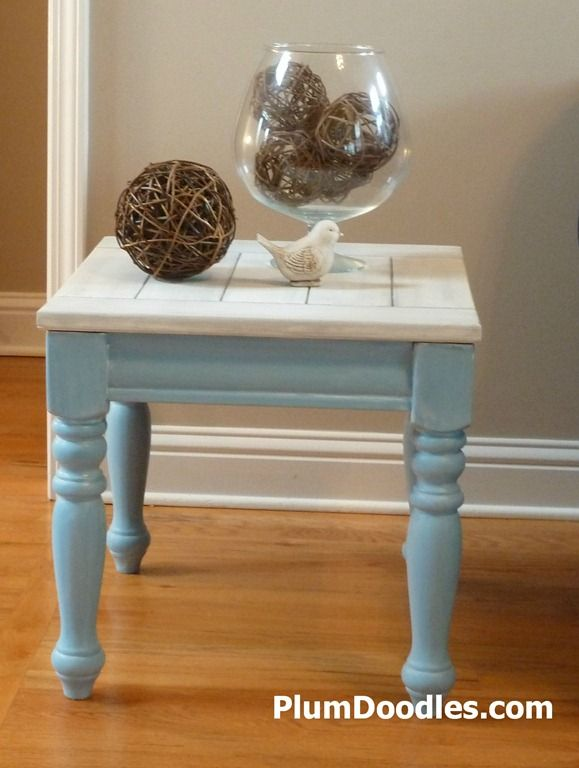 beachy end table with turquoise base and driftwood top | tyrkys a