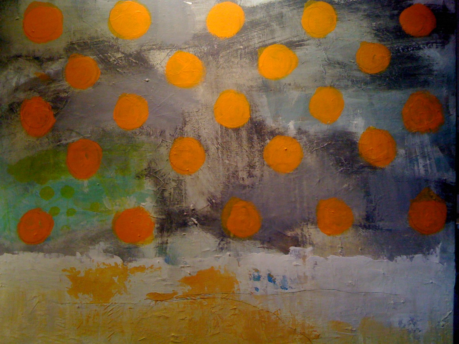 Maleri 80x80 abstrakt by G. Cittrup
