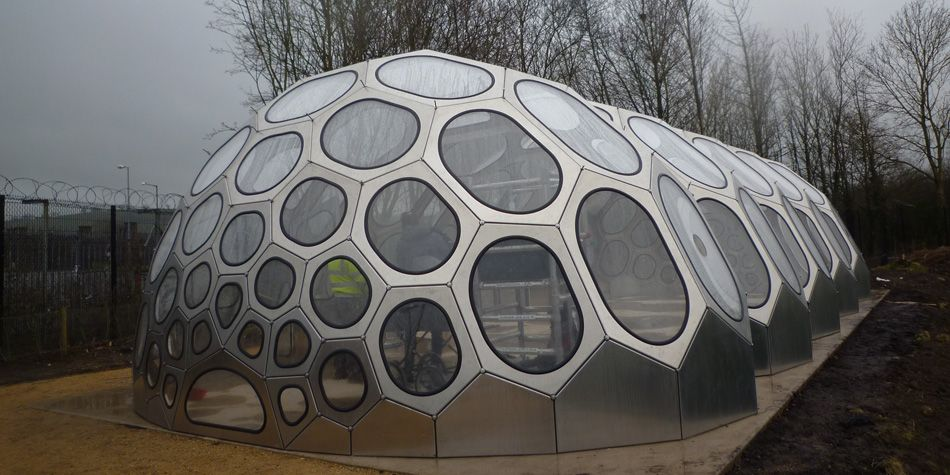 Spaceplates cnc prefab geodesic dome geodesic domes for Greenhouse architecture design