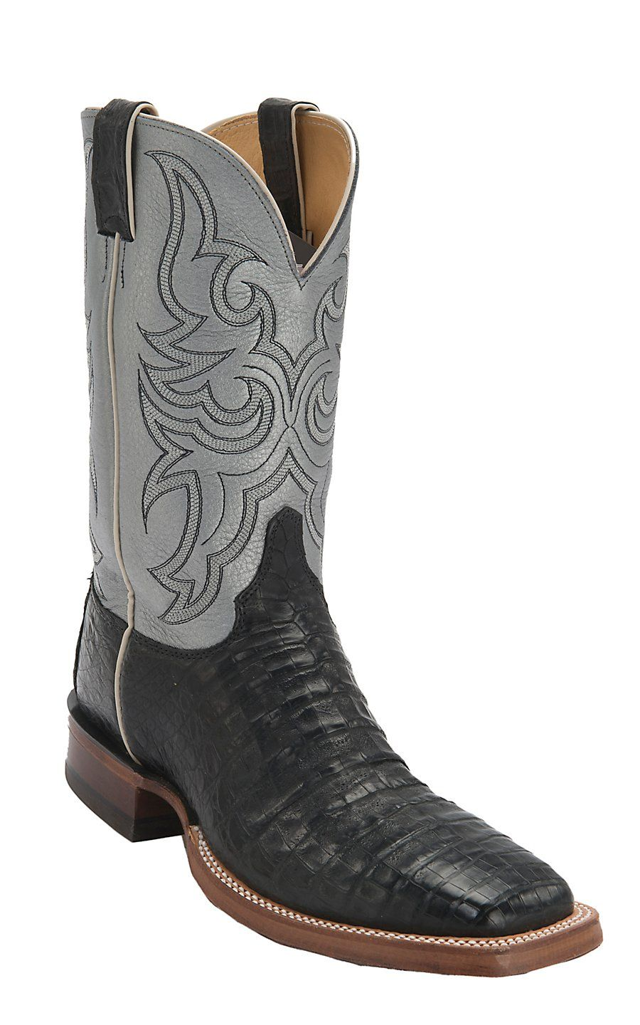 Justin AQHA Remuda Mens Black Vintage Caiman Belly with Pewter Top Exotic  Square Toe Western Boots