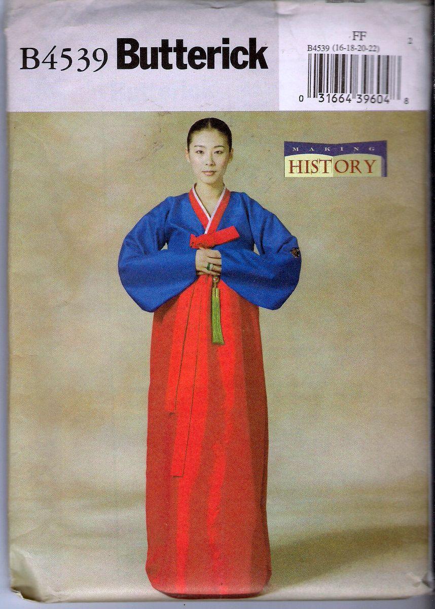 Butterick B4539 Korean Hanbok Han-bok Sewing Pattern Uncut Size FF ...