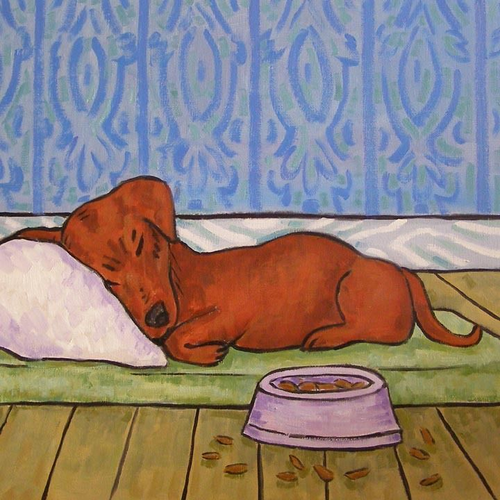 Dachshund Sleeping Dog Bowl Ceramic Art Tile Coaster Dachshund