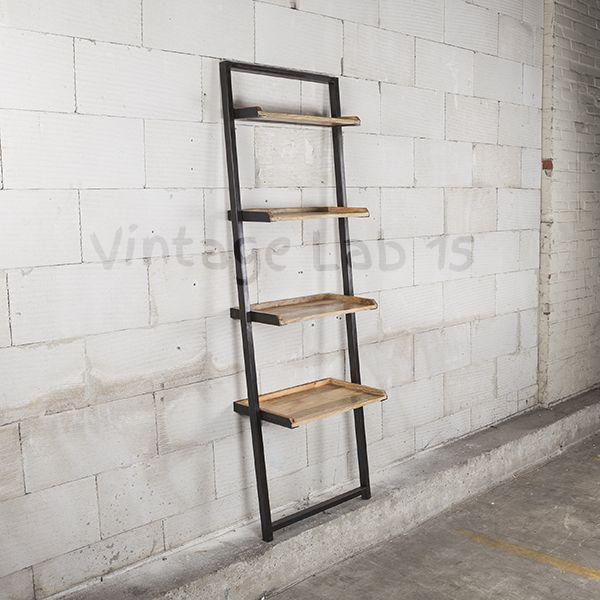 Robuuste Houten Ladder.Industrieel Wandrek Kasten Dit Stoere Wandrek Heeft Vier Stevige