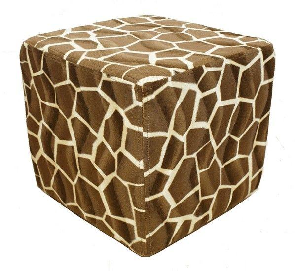 Footstool Cube Pouffe Animal Print Giraffe Pouffe Footstool Small Footstool