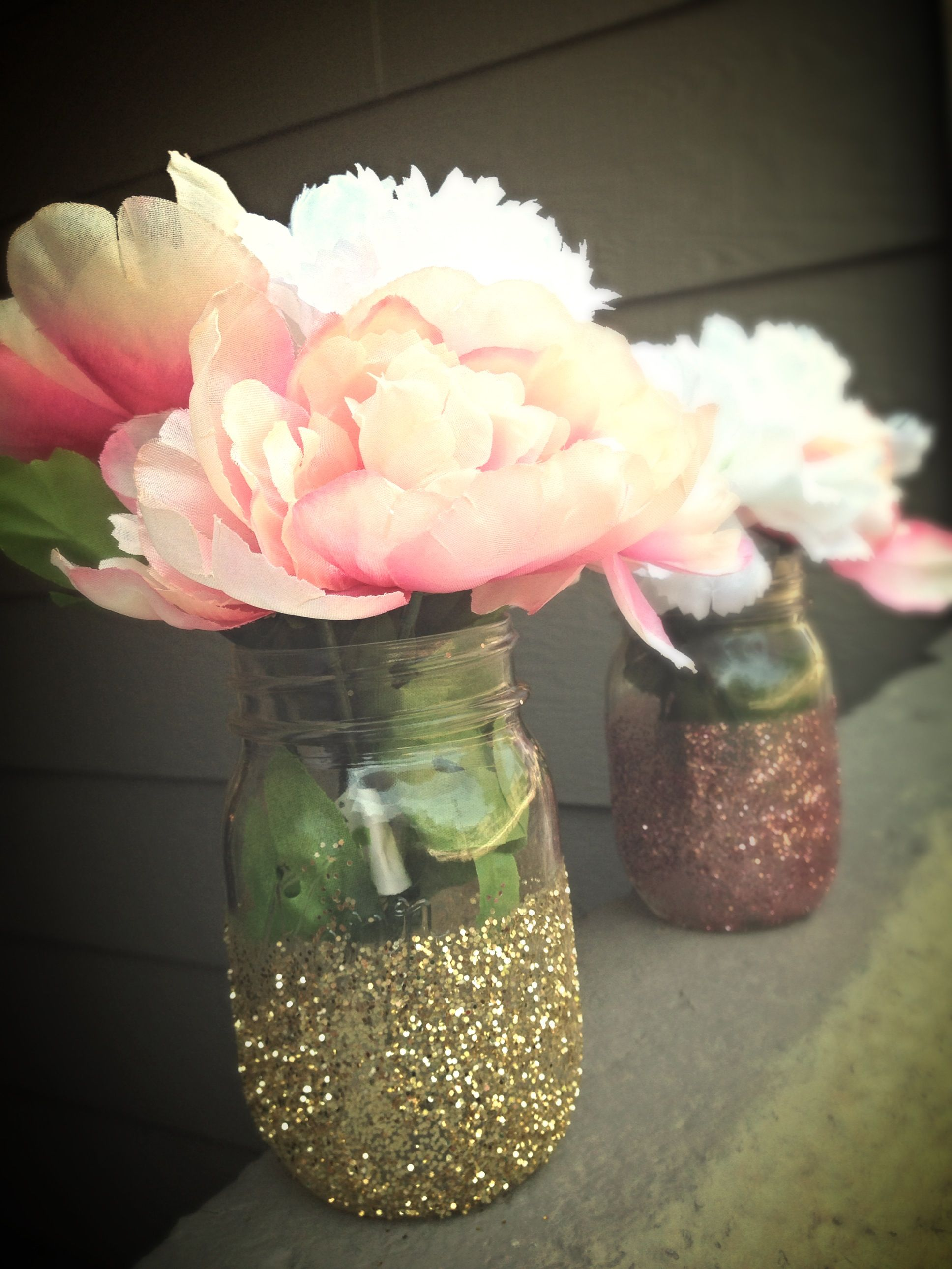 Glitter Mason Jar Centerpieces For Baby Shower | Baileyu0027s Communion |  Pinterest | Glitter Mason Jars, Mason Jar Centerpieces And Jar Centerpieces
