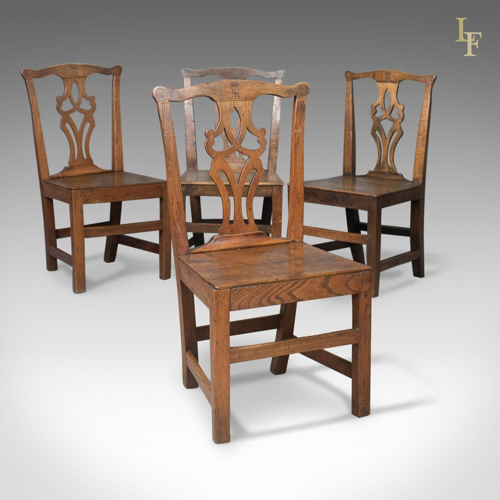 Set Of 4 Antique Dining Chairs Oak Elm English Country Kitchen C