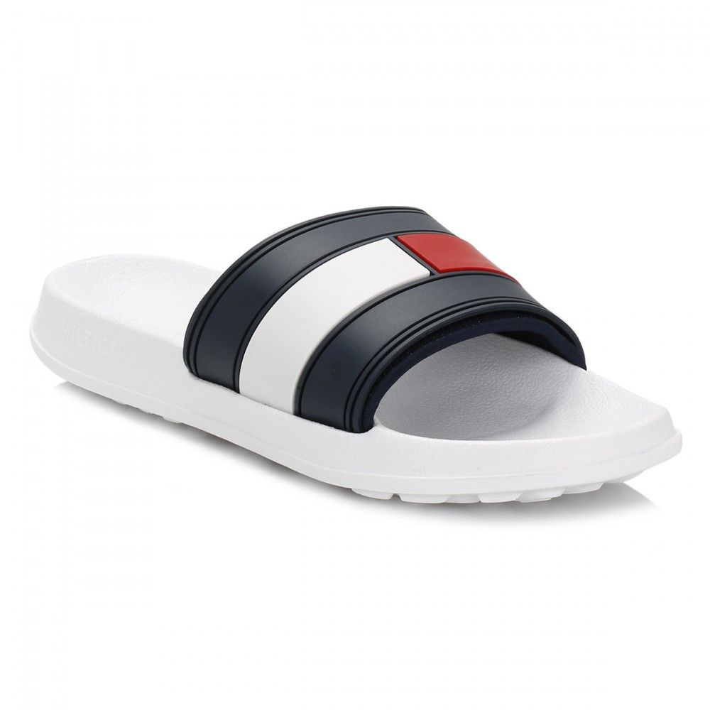 44bad3ff Tommy Hilfiger Mens White Slides | clothes | Tommy hilfiger shoes ...