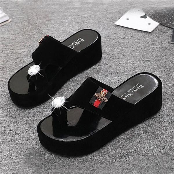 7c04e9eb7 glitter shoes womens flip flops flat platform slippers wedge slippers  flipflops designer shoes women luxury 2018