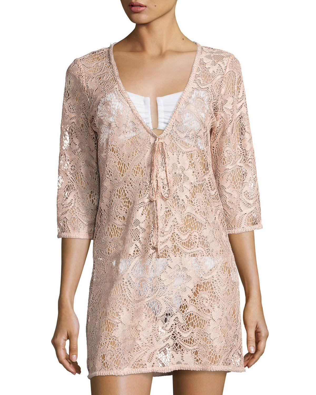 Venus Sheer Lace Coverup Tunic, Pink