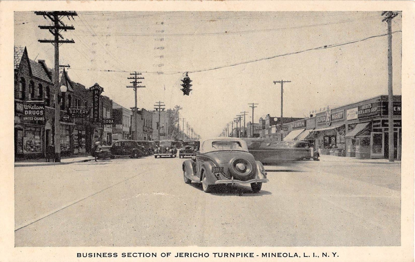 1942 Car Whelan Drug Store Other Stores Jericho Turnpike Mineola Li Ny Post Card Ebay Mineola Postcard Outdoor