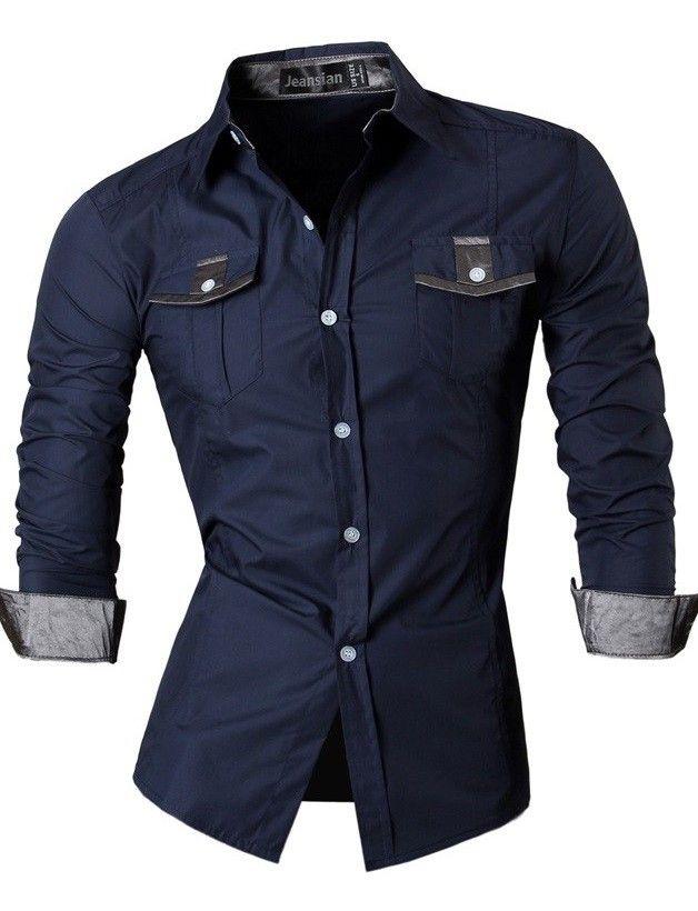 3a4b756c5831f Camisa Juvenil Fashion con Detalles - Estilo Casual - en Azul Oscuro ...