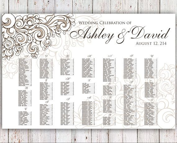 Free Printable Seating Chart Wedding Seating Chart  Rush Service  Vintage Floral Ornament .