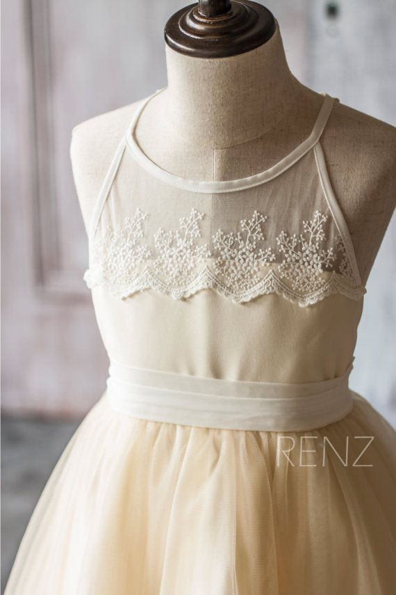 Short Ivory Junior Bridesmaid Dress,White Halter Strap Tulle Chiffon ...