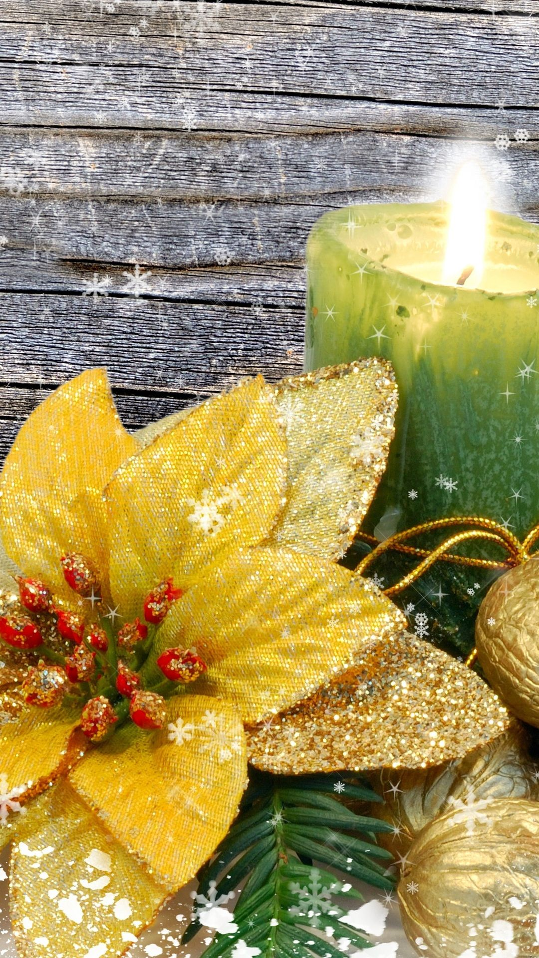 Candle gold plated snowflakes nuts flower photo wallpapers
