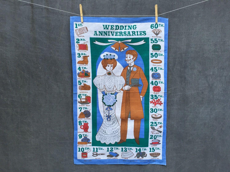"60's Ulster Mid Century Irish Linen Tea Towel ""Wedding"