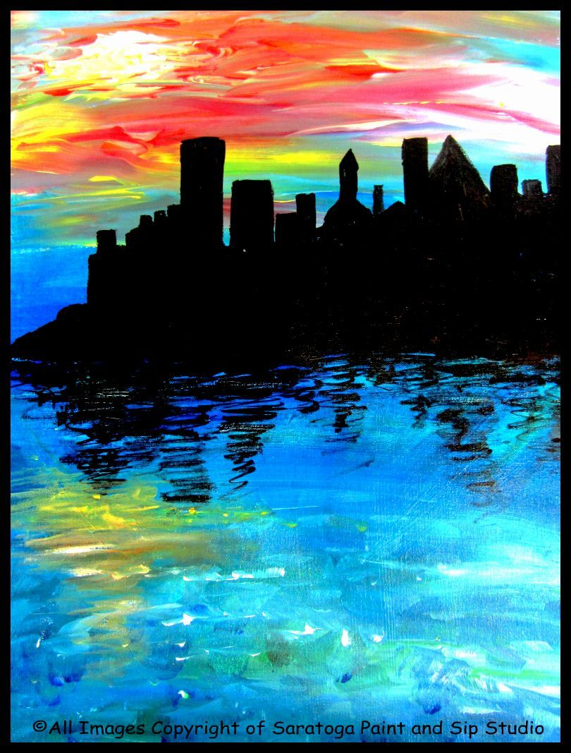 Sunset silhouette at saratoga paint sip studio gelli for Sip and paint houston