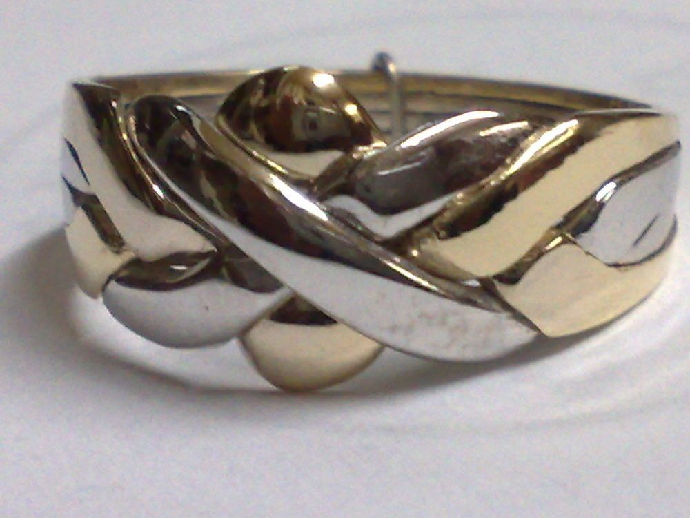 14k gold turkish puzzle ring 4 band 2 white 2 yellow gold all ship