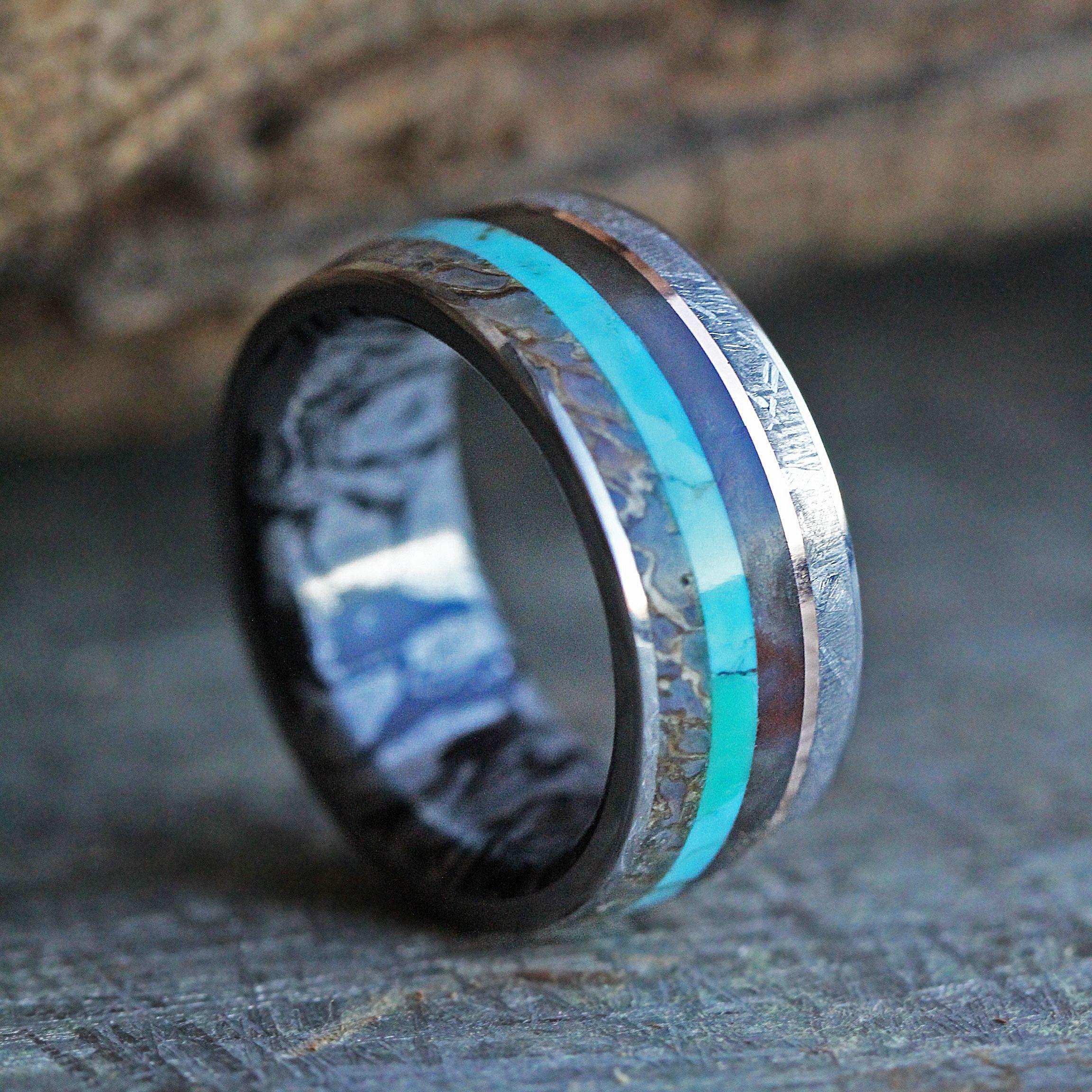 Unique Men's Ring with Meteorite, Dinosaur Bone, Turquoise