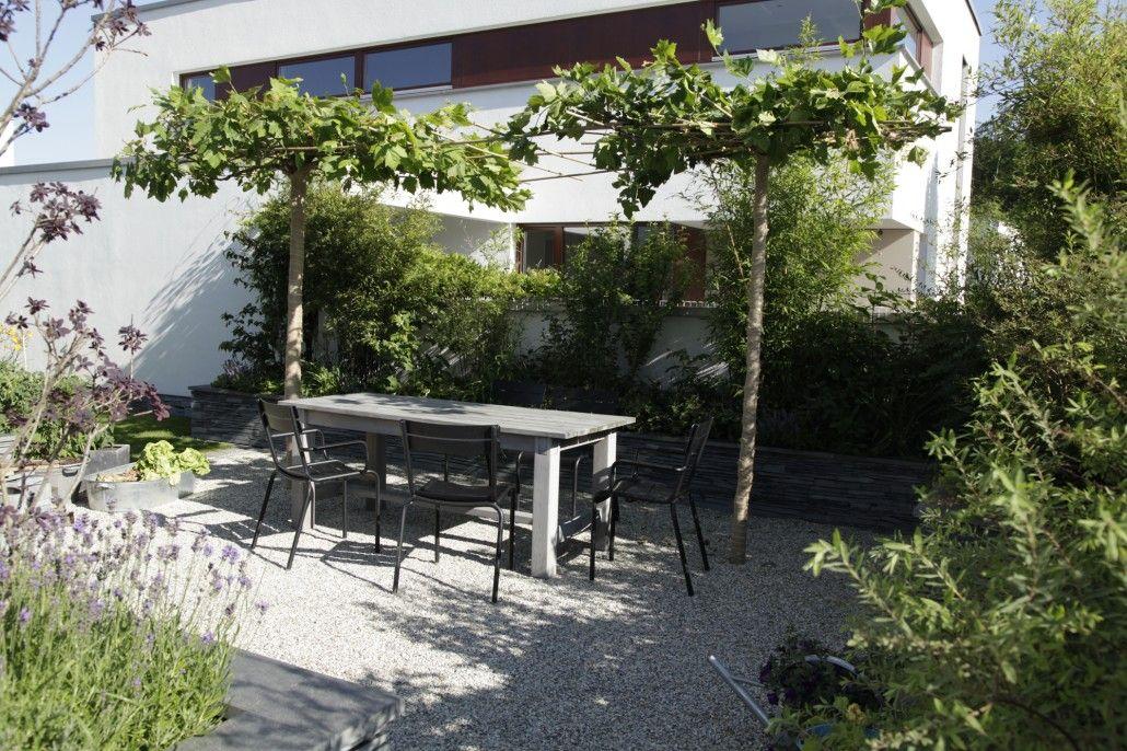 Großzügige Kiesflächen u203a Zinsser Gartengestaltung, Schwimmteiche - sitzplatz im garten mit steinmauer
