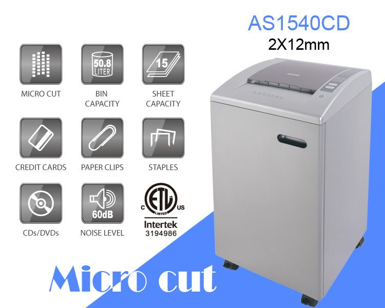 Aurora As1540cd Plastic Paper Shredder 15 Sheet A4 Micro Cut 2x12mm Heavy Duty Shredding Machine For Office Soho